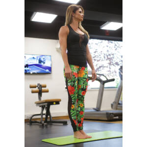 Flame női fitness tüll leggings, dzsungel-fekete