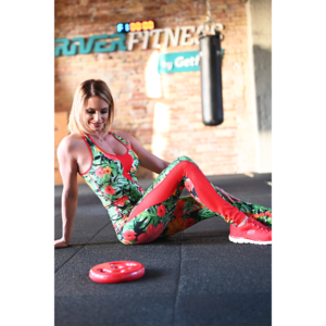 Flame jungle-piros női fitness tüll leggings + atléta szett