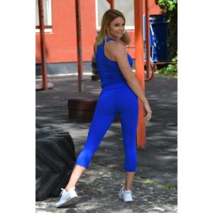 Királykék basic női fitness sport capri nadrág