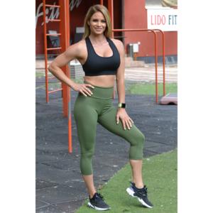Khakizöld basic magasderekú női fitness sport caprinadrág