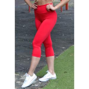 Piros basic magasderekú női fitness sport caprinadrág