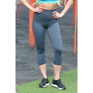 Grafitszürke basic magasderekú női fitness sport caprinadrág