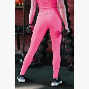 Neon pink (rosa shocking) basic magasderekú női fitness sport leggings