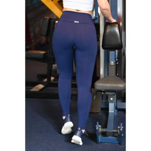 Sötétkék basic magasderekú női fitness sport leggings