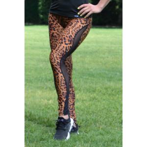 Fekete párduc mintás flame női fitness tüll leggings