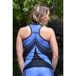 Melange kék női fitnesz íves atléta