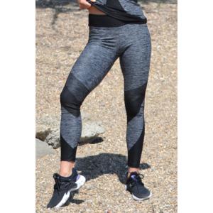 Melange fekete ívelt mintás női fitnesz 7/8-os leggings