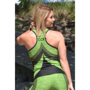 Melange neonzöld női fitnesz íves atléta
