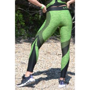 Melange neonzöld ívelt mintás női fitnesz 7/8-os leggings