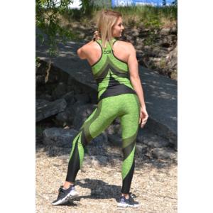 Melange neonzöld íves 7/8-os leggings + íves atléta szett