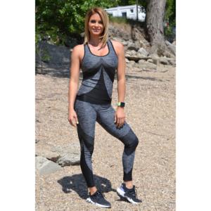 Melange fekete íves 7/8-os leggings + íves atléta szett