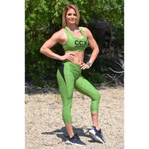 Melange neonzöld női fitnesz capri nadrág + sport top szett