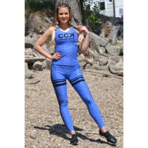 Melange kék magas derekú csíkos 7/8-os leggings + logó atléta szett
