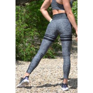 Melange fekete női fitnesz magasderekú 7/8-os leggings