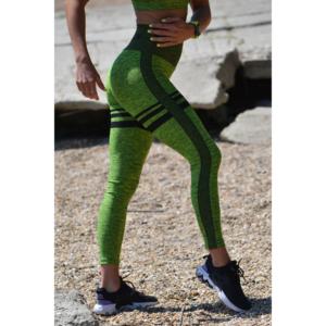 Melange neonzöld női fitnesz magasderekú 7/8-os leggings