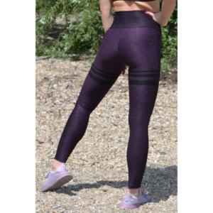 Melange padlizsán női fitnesz magasderekú 7/8-os leggings