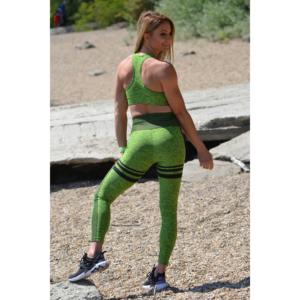 Melange neonzöld magas derekú csíkos 7/8-os leggings + sport top szett