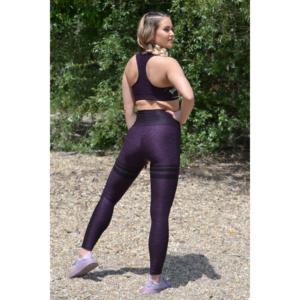 Melange padlizsán magas derekú csíkos 7/8-os leggings + sport top szett