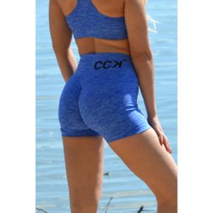 Melange kék magas derekú fitnesz short + sport top szett