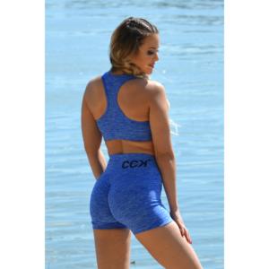 Melange kék női fitnesz sport top