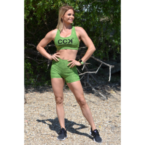 Melange neonzöld magas derekú fitnesz short + sport top szett