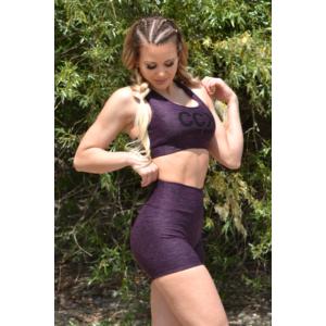 Melange padlizsán női fitnesz short nadrág