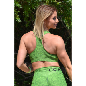 Melange neonzöld női fitnesz sport top