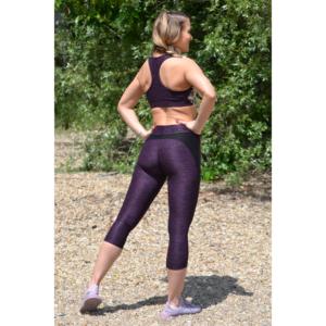 Melange padlizsán női fitnesz capri nadrág + sport top szett
