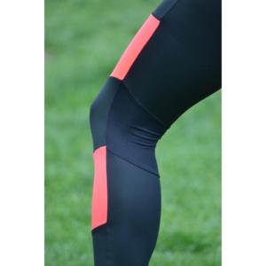 Fekete-korall piros mozaik leggings, top szett