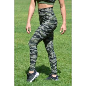 Khaki terepmintás, magasderekú leggings-logo atléta szett