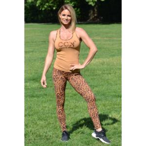 Gepárdmintás magasderekú leggings, bézs logo atléta szett