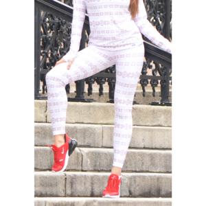 Skandináv mintás thermo leggings, fehér bézs