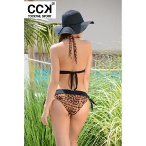 Gepárd mintás, széles pántos push up háromszög bikini