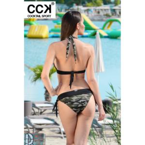 Khaki terepmintás, széles pántos push up háromszög bikini