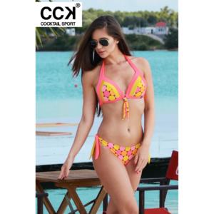 Napsárga-korall pöttyös, oldalt szélespántos tricolor push up háromszög bikini