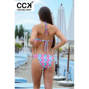 Rózsaszín-kék pöttyös push up bandeau bikini