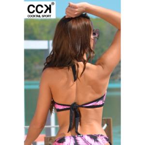 Pink pálma mintás, kivehető szivacsos D kosaras bikini felső