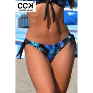 Kék pálma mintás, hagyományos fazonú, megkötős bikini alsó