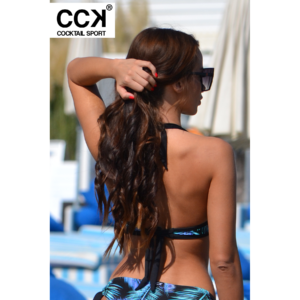 Kék pálma mintás, kivehető szivacsos D kosaras bikini felső