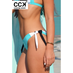 Menta-fehér-fekete, tricolor brazil tanga fazonú bikini alsó.