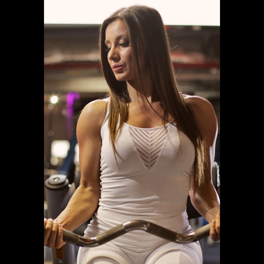 Fehér lace V női fitness atléta