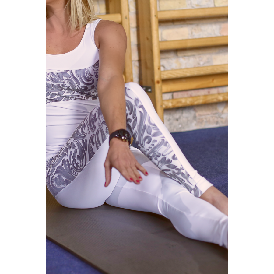 Fehér elegance hullám női fitness hosszú nadrág