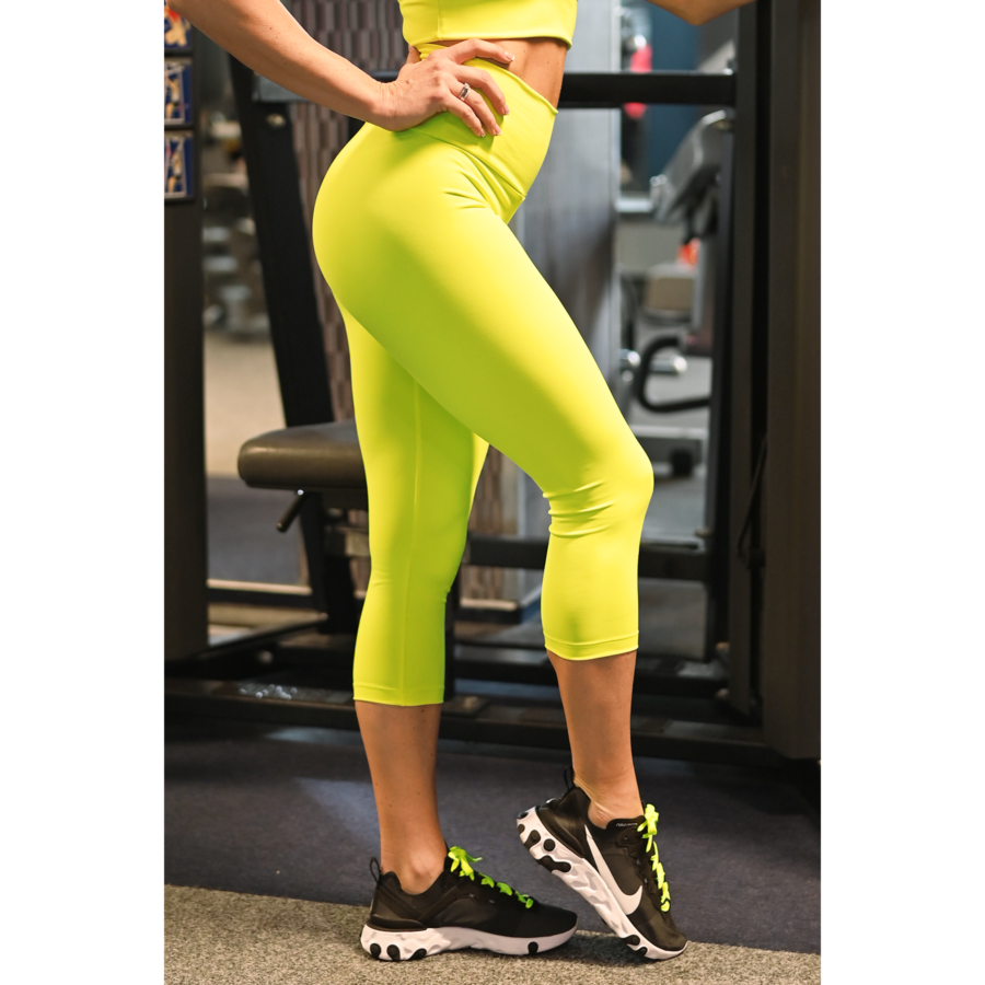 Neon sárga basic magasderekú női fitness sport caprinadrág