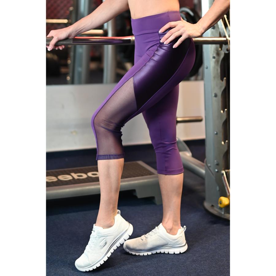 Padlizsán lila, fényes betétes tüll betétes női fitness capri - CCK - COCKTAIL SPORT