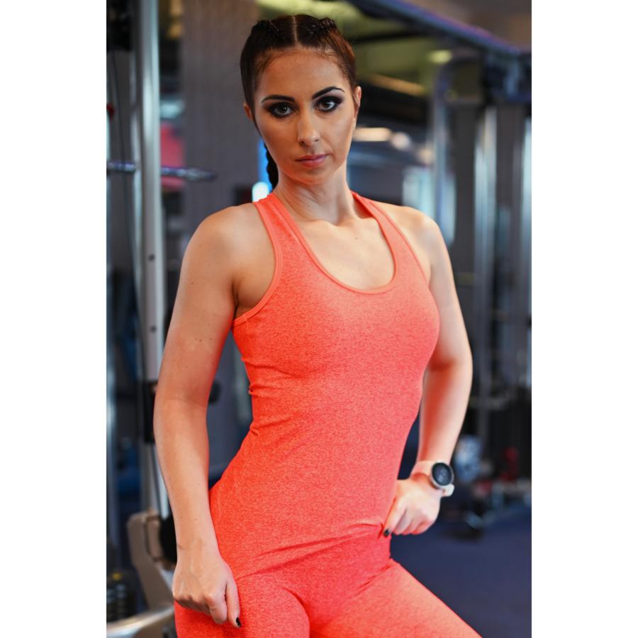 Melange neon korall-piros női fitnesz atléta