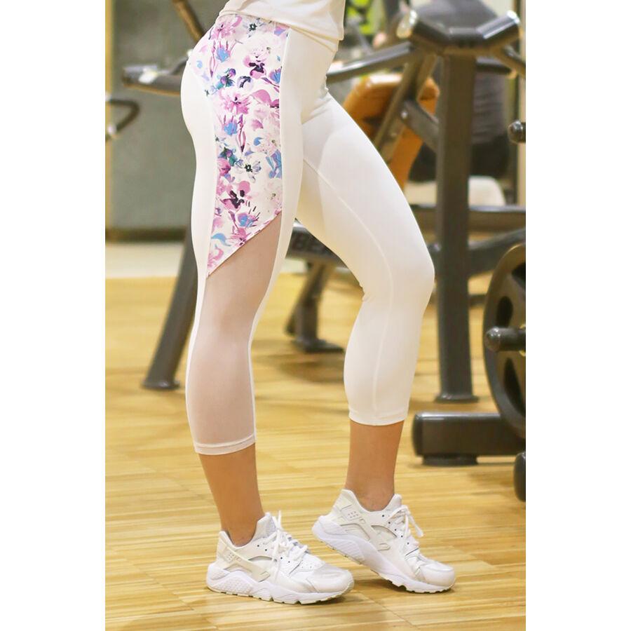 Fehér-lila virágos tüll betétes hullám női fitness capri nadrág - CCK - COCKTAIL SPORT