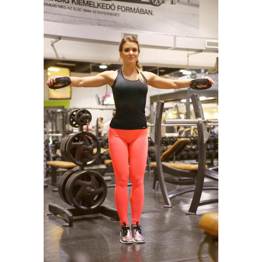 Női basic fitness szett, neon korall-fekete