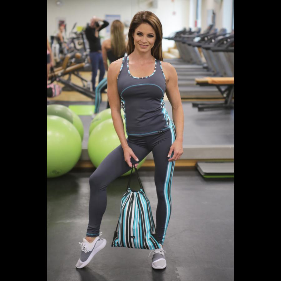 Csíkos menta mintás női fitness szett, hosszú nadrág, atléta - CCK - COCKTAIL SPORT