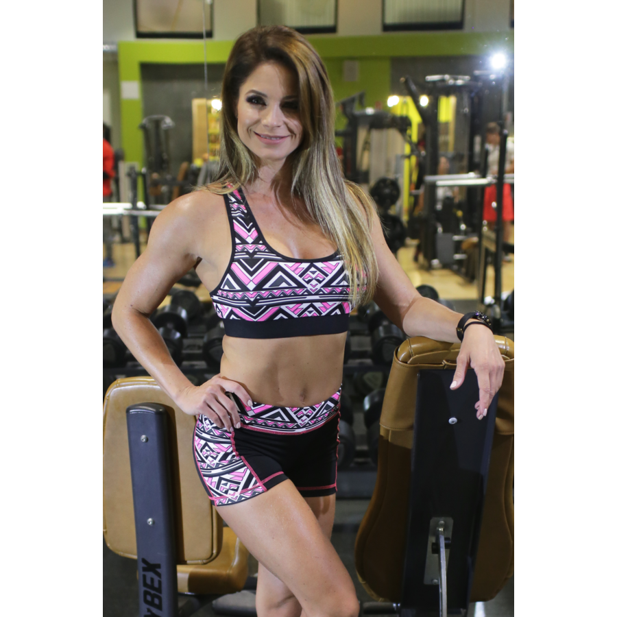 Aztec mintás női fitness szett, rövid - CCK - COCKTAIL SPORT