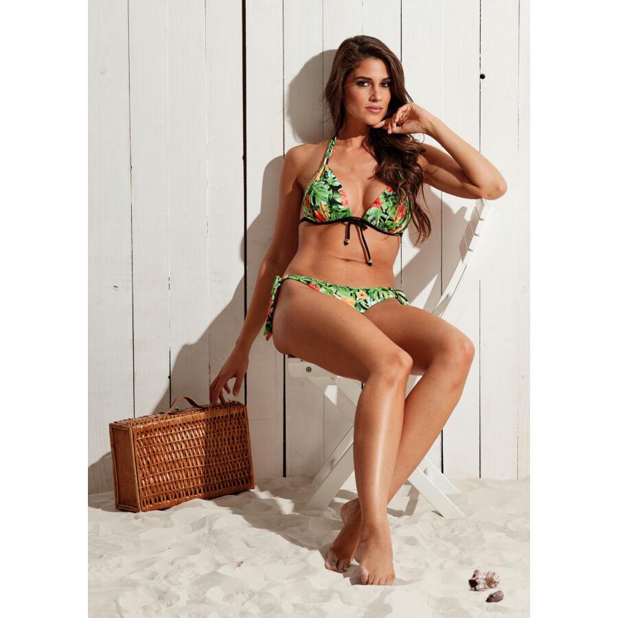 Dzsungel mintás push up háromszög bikini, brazil tangával